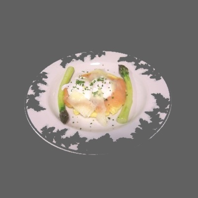 Poached Eggs with Smoked Salmon, Polenta, and Asparagus