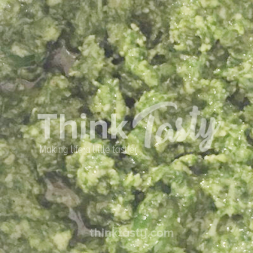 Pesto made with basil or parsley
