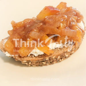 Slightly sweet with a whole bunch of savory, this peach and caramelized onion bruschetta is the perfect topping for crostini and goat cheese.