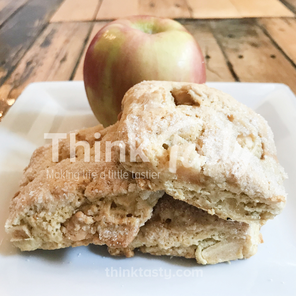 Homemade scones filled with diced apple and caramel chips