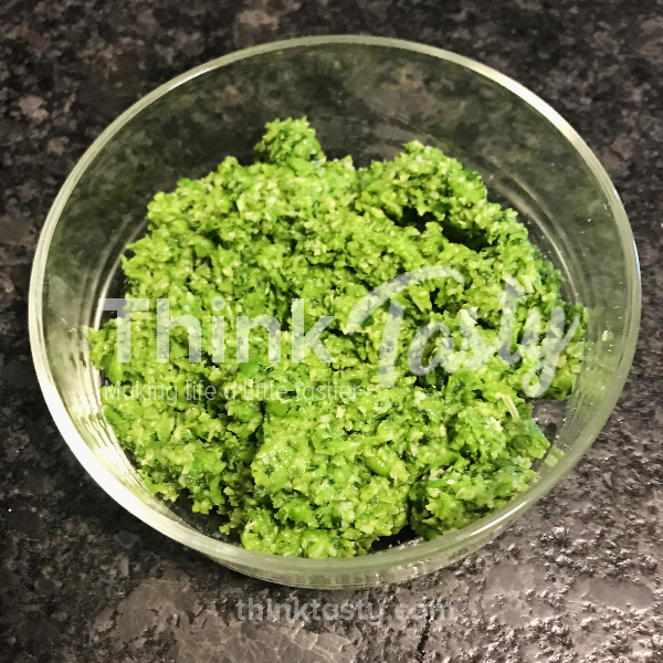 Pesto made with peas, cilantro, garlic, and parmesan