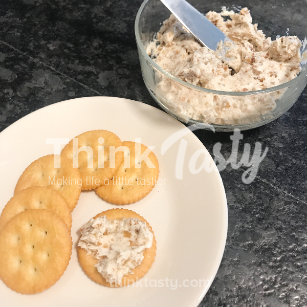 Goat and/or cream cheese blended with dried fruit to make a spread for crackers