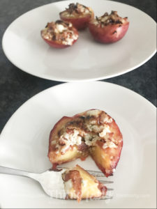 Broiled peach halves topped with blue cheese and bacon