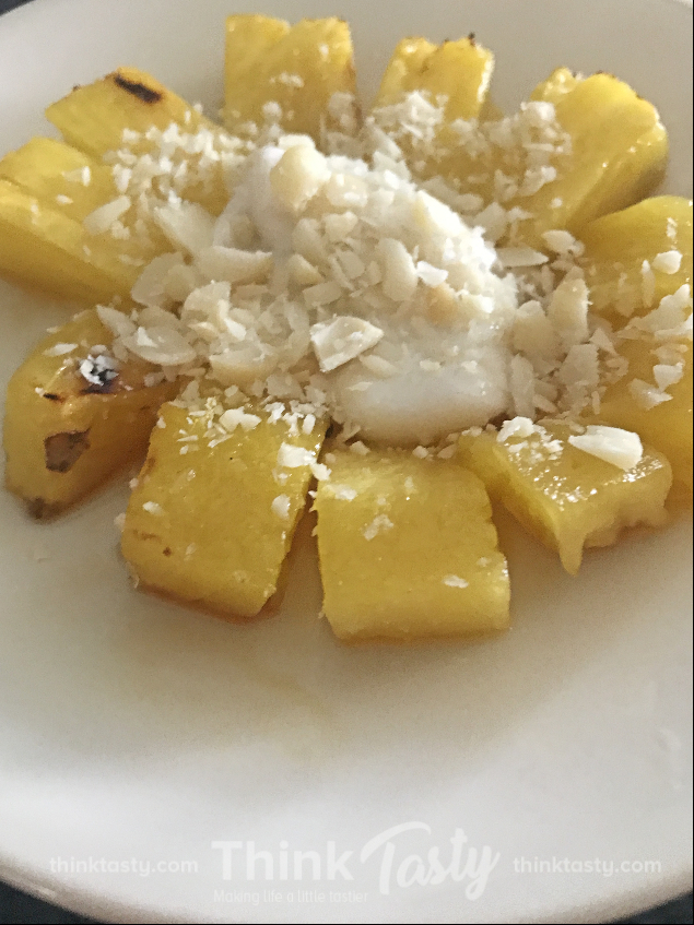 pineapple with yogurt and macadamia nuts