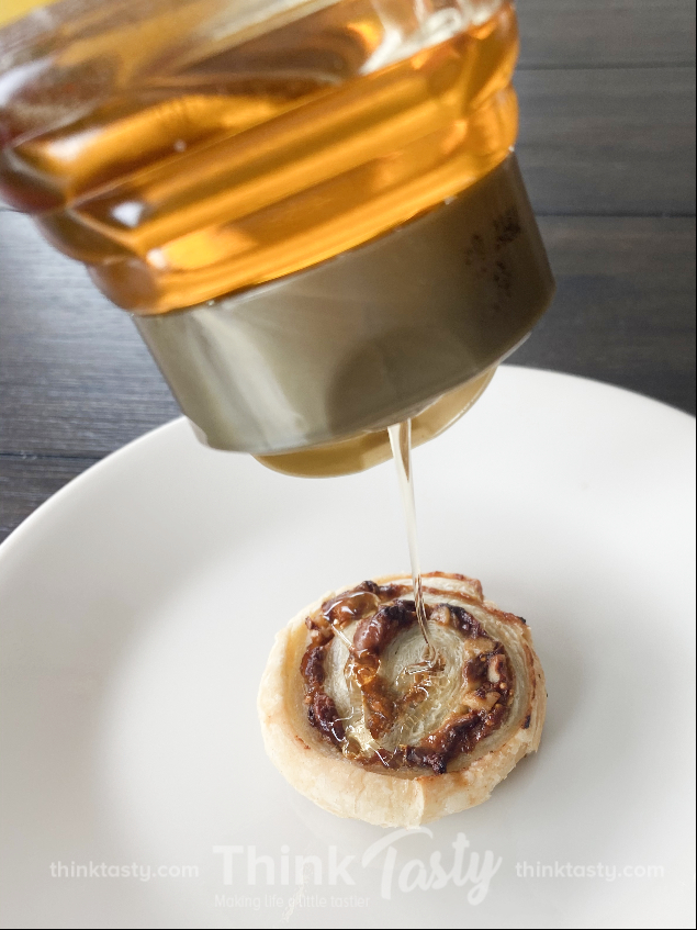 Puff pastry wrapped around fig jam, blue cheese, and walnuts