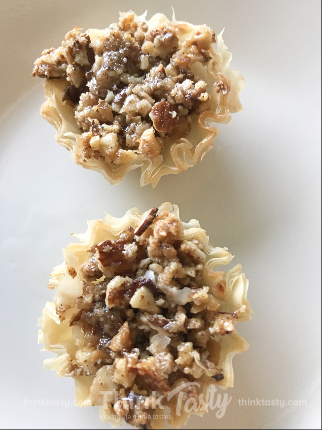 Nuts and honey in a phyllo cup