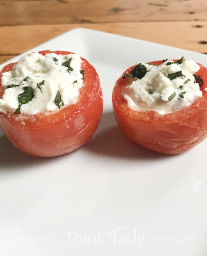 plum tomatoes stuffed with goat cheese and herbs