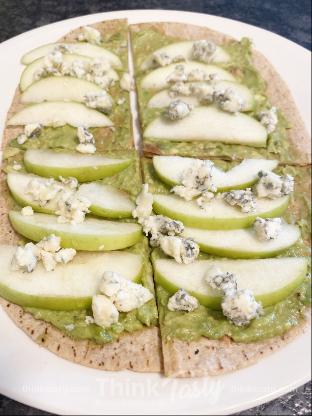 avocado flatbread with apples and blue cheese