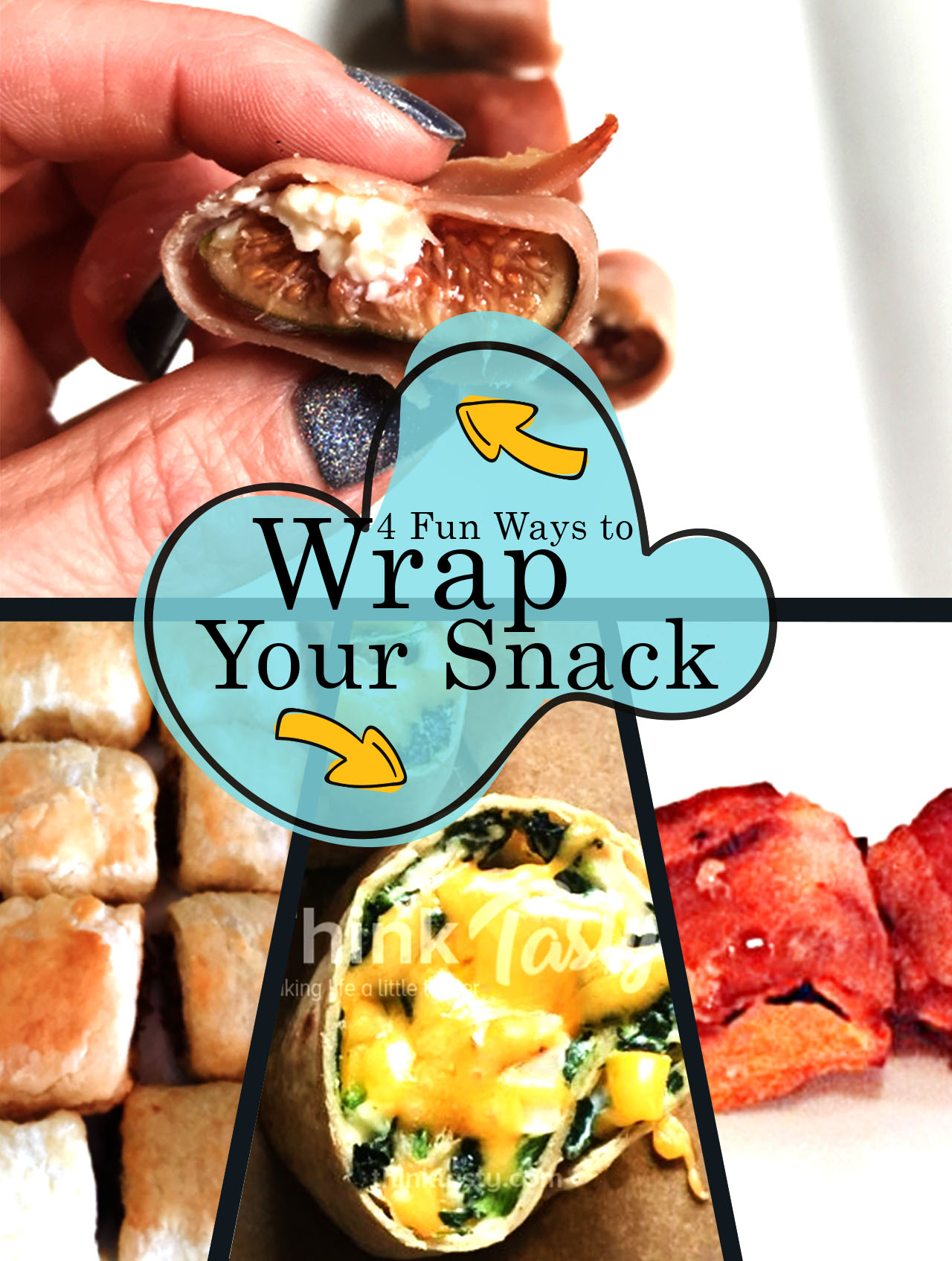 4 snacks made with different types of wraps