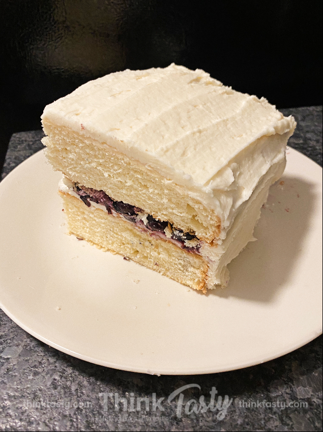 wedding cake with blueberry filling