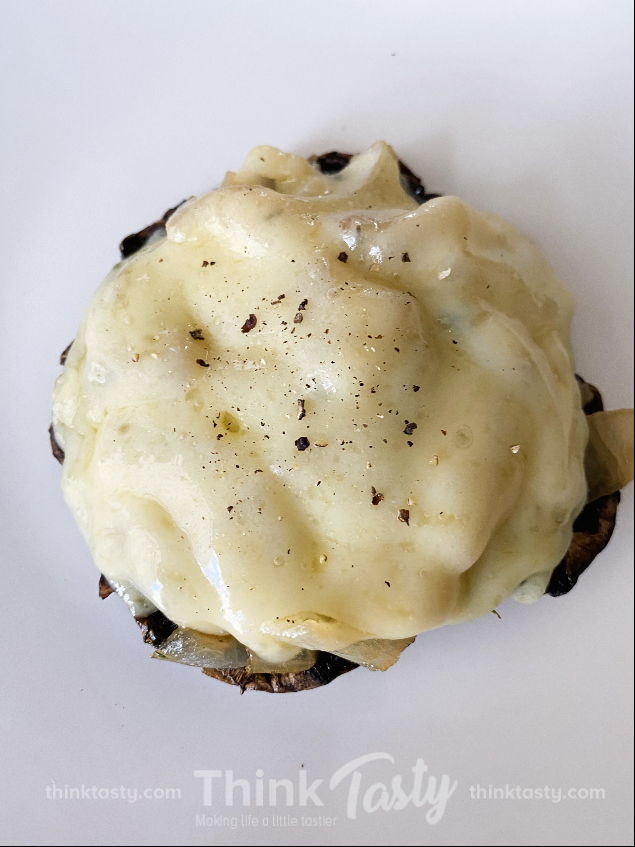 portabella topped with caramelized onion and swiss cheese