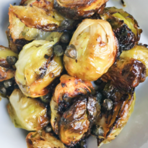 honey dijon brussel sprouts with capers