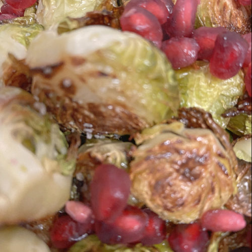 roasted brussel sprouts with pomegranate