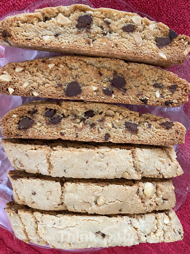 Chocolate and peanut butter biscotti