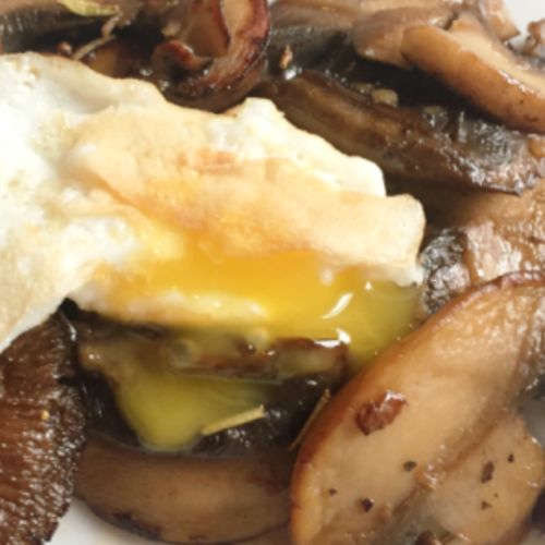 sauteed mushrooms with quail eggs