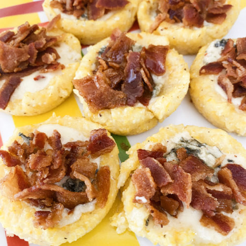 polenta cups filled with blue cheese and bacon